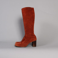 60s RUST Tall BOOTS / Knee High Suede Leather Boots, 10