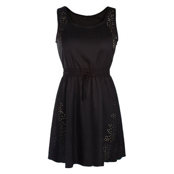 Drawstring Lace-up Dress Hollow Summer  black    S
