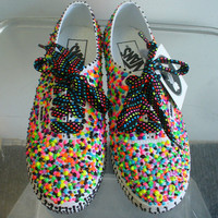 GLOW Neon Sprinkle Paint Vans Tennis Shoes