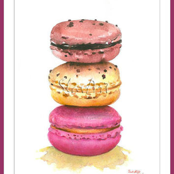 Macarons - French Dessert Food Print Watercolor Painting Fine Art Still Life Home Decor Kitchen Wall Illustration