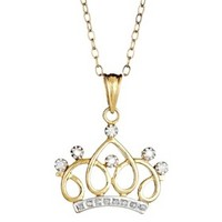 Sterling Silver Crown Pendant Necklace with Diamond Accents - Yellow