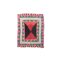 Moroccan BOUCHEROUITE Rug. Mid Century Modern Wall Art. Abstract Painting Rug. Pink Red Emerald. Danish Pottery Compliment.