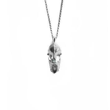Hydra Minimus Dragon Skull Necklace . With Precious Stones .