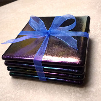 Fused Glass Coasters, Set of 4, Iridescent Black