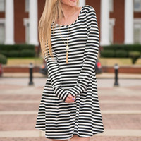 French Twist Dress, Black-White
