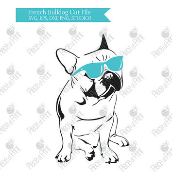 French Bulldog SVG EPS DXF STUDIO3 png Cut file Cricut Silhouette Vinyl Cutting files Vector Graphic