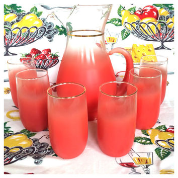 1960s Blendo Set West Virginia Glass Co. Frosted Coral Pink Pitcher and 6 Tumblers