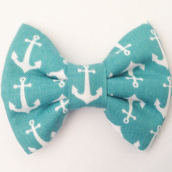 White Anchors Bow (Handmade Bow / Bow Tie / or Headband)