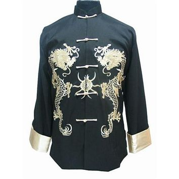 Black Traditional Chinese Men Silk Satin Coat Vintage Kung Fu Jacket Embroidery Dragon Overcoat Size M L XL XXL XXXL MJ002