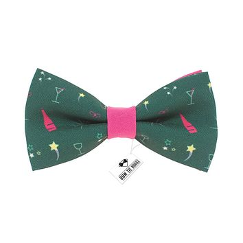 Champagne Green-Pink Bow Tie