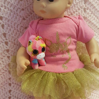 "15 inch Baby doll outfit ""Goldon Unicorn""  Will fit Bitty Baby® Cabbage Patch®  dress leggings socks headband G12"