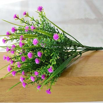 Artificial Flowers Plastic 5 Branches Jasmine Green Grass Flower For Home Table Decor Rose Red Purple Yellow Wedding Decoration