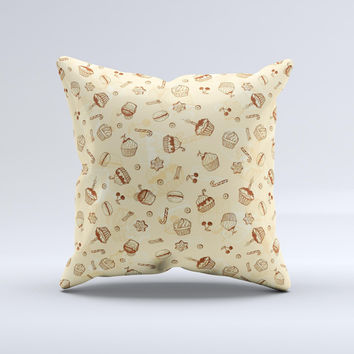 Tan Treats N_ Such Ink-Fuzed Decorative Throw Pillow