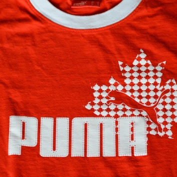 Vintage Red and White Puma Ringer Cotton T-Shirt -  Size S Small Retro Tee Sports T-shirt