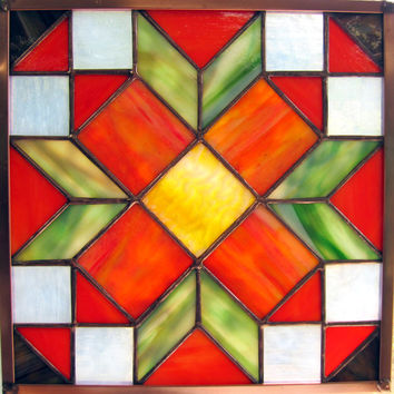 Handmade High Summer Garden Bouquet Stained Glass Quit Square Window Hanging in Bright Colors Traditional Appalachian Pattern