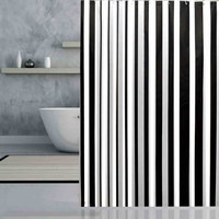 Brand New Peva Bathroom Curtain Luxury White Black Stripe Mould-Resistant Waterproof Bath Shower Curtain Several Multi Size