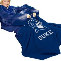 NCAA Duke Blue Devils Comfy Throw Blanket with Sleeves, Smoke Design