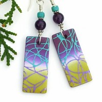 Purple Yellow Turquoise Earrings, Handmade Polymer Clay Jewelry Gift