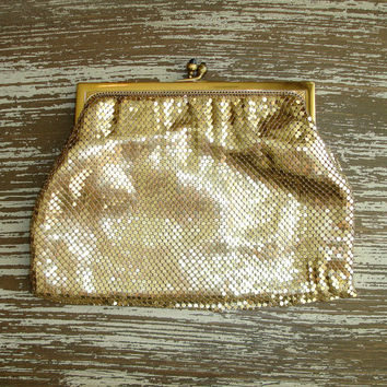 Vintage Whiting and Davis Gold Mesh Purse, Clutch, Evening Bag, 1950s Mid Century Metal Handbag, Jeweled Clasp, Womens Accessory, Prom