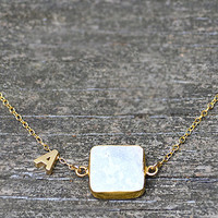Personalized White Druzy necklace- Initial Letter Monogram Vermeil Gold or Sterling Silver bezel set initial bridesmaid wedding jewelry