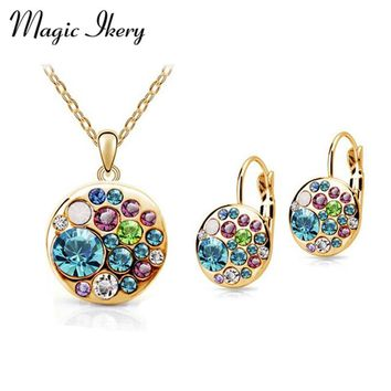 Magic Ikery Vintage Set New 2017 Gold Color Blue color Korean Crystal Round African Costume Crystal Jewelry Sets