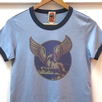70s Pegasus Ringer Tee | womens heather blue and navy baby tee 1970s style top 50/50 fitted tshirt Unicorn Winged Horse retro shirt