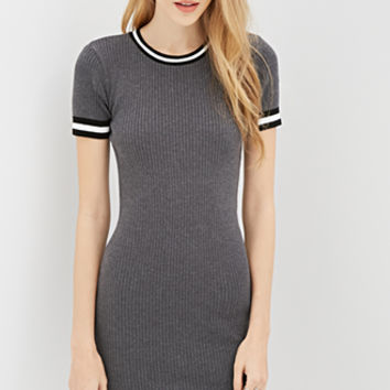 Ribbed Stripe-Trim Dress