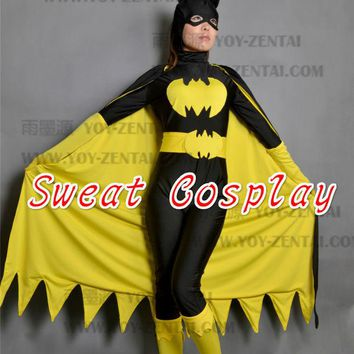 DCCKHY9 black batman costume women adult batgirl cosplay halloween costumes for women sexy superhero bodysuit zentai mask cape custom