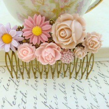 Dusty rose pink hair Comb Wedding Floral Collage Vintage flower Victorian Bridal Hair Head piece