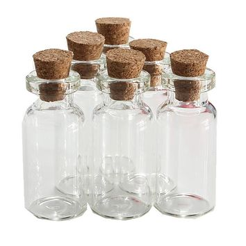 5pcs/lot 2ml  Small transparent Empty Wishing Glass bottle Drifting Bottle Message Vial With Cork Stopper Vials Jars Containers