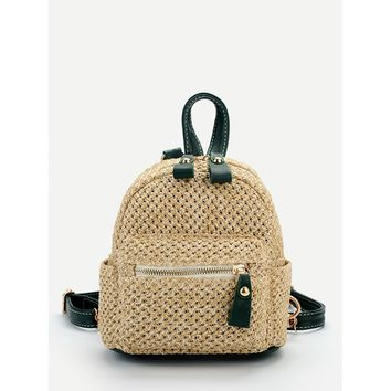 Pocket Front Straw Backpack Beige