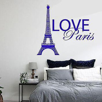 Wall Decal Paris France Eiffel Tower Quote City Love Vinyl Decal Unique Gift (z3134)