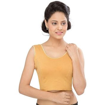 Designer Indian Gold Cotton Lycra Non-Padded Stretchable Sleeveless Saree Blouse Crop Top (A-39)