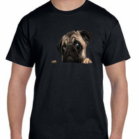 Peeking Pug Mens Tshirt
