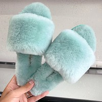 UGG sells casual fur integrated wool slippers fashionable women's flip-flops