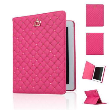 For iPad AIR 2/iPad 6 Bling Crown Folio Flip Leather Case Cover with Auto Wake/Sleep Function