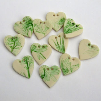 Porcelain Leaf Motif Heart Buttons - Scrapbooking Craft Supplies