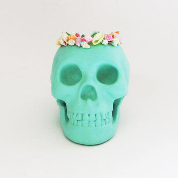 Candle Holder Skull, Human Skull, Candle Holder, Skull Candle, Skulls, Beach Decor, Human Skull Decor, Seafoam Skull, Hodi Home Decor