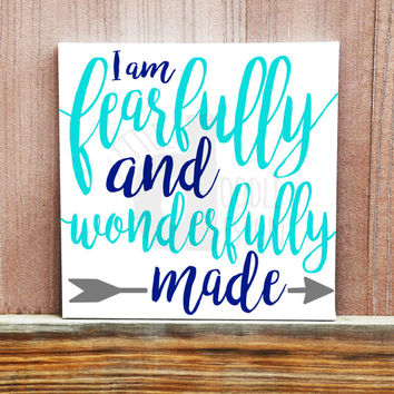 I Am Fearfully and Wonderfully Made, Hand Painted Canvas, Bible Verse, Inspirational Quote, Home Decor, Wall Sign, Christian Sign, Baby Sign