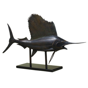 Antiquated Museum Sailfish Figurine on Stand by SPI-HOME