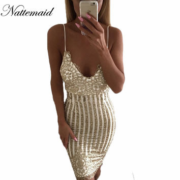 Sexy Party Night sequin summer dress 2016 Women V neck elegent vintage dresses Shinning Gold sequined Flower Lace Mesh vestidos