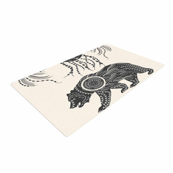 "Famenxt ""Boho Ornate Bear"" Beige Black Woven Area Rug"