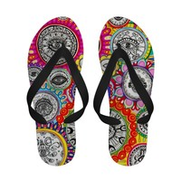 Psychedelic Colorful Flip Flops - Groovy Abstract!