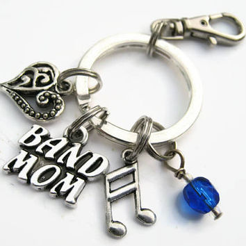 Band Mom Keychain, Band Mom Zipper Pull, Antiqued SILVER, Music Keychain, CHOOSE Your Instrument, Personalized Accessory, Musical Gift