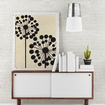 Bon Black Dandelion, Mid Century Modern, Wall Art, Flower Wall Decor, Home Decor