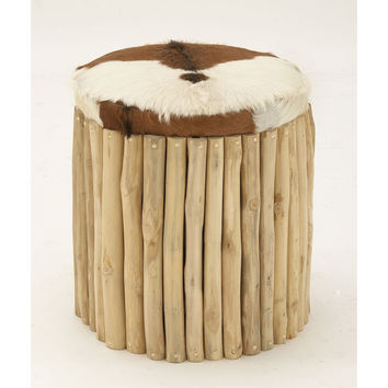 Refined Wood Leather Hair Round Stool