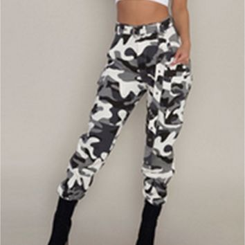 US Jeans Women Camo Cargo Trousers Casual Pants Military Army Combat Camouflage