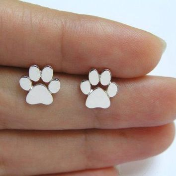 Jisensp Fashion Cute Paw Print Earrings for Women bijoux Piercing Jewelry Boho Brushed Cat and Dog Paw Stud Earrings bijoux 2018
