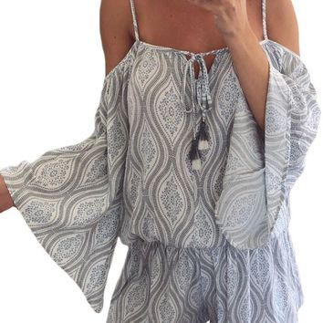 Tribal Print Cold Shoulder Tassels Summer Romper