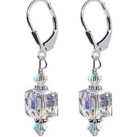 Amazon.com: SCER053 Sterling Silver 8mm Clear Cube Crystal Earrings Made with Swarovski Elements: Jewelry